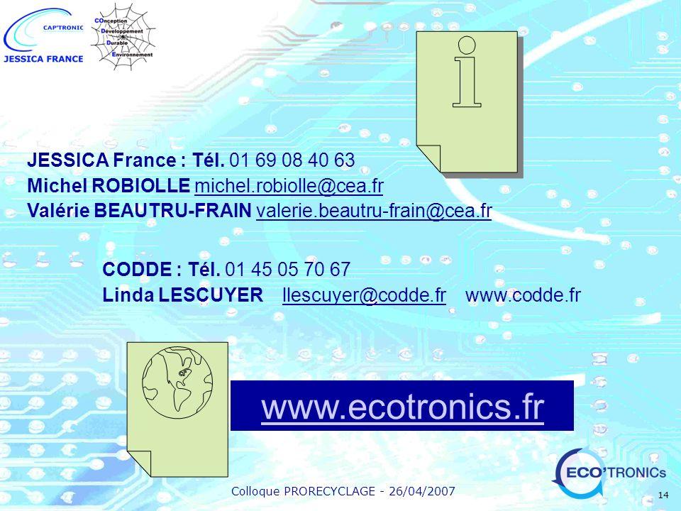 Colloque PRORECYCLAGE - 26/04/2007 14 CODDE : Tél. 01 45 05 70 67 Linda LESCUYER llescuyer@codde.fr www.codde.fr www.ecotronics.fr JESSICA France : Té