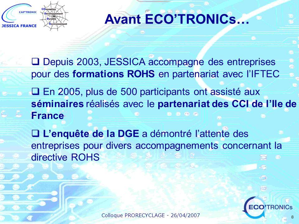 Colloque PRORECYCLAGE - 26/04/2007 8 Avant ECOTRONICs… Depuis 2003, JESSICA accompagne des entreprises pour des formations ROHS en partenariat avec lI