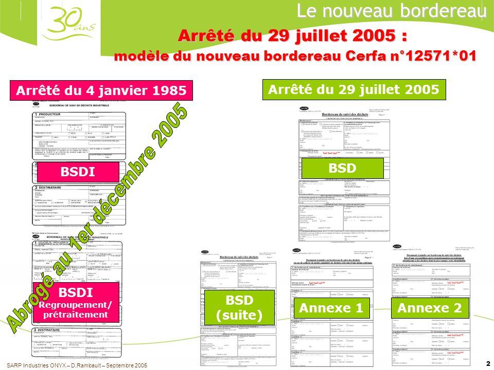 2 Arrêté du 4 janvier 1985 Arrêté du 29 juillet 2005 BSDI Regroupement/ prétraitement Le nouveau bordereau Arrêté du 29 juillet 2005 : modèle du nouve