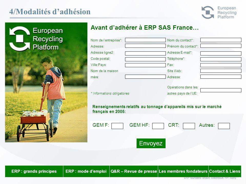 ERP – 23 Février 06 16 4/Modalités dadhésion Avant dadhérer à ERP SAS France… Nom de lentreprise*: Nom du contact*: Adresse: Prénom du contact*: Adres