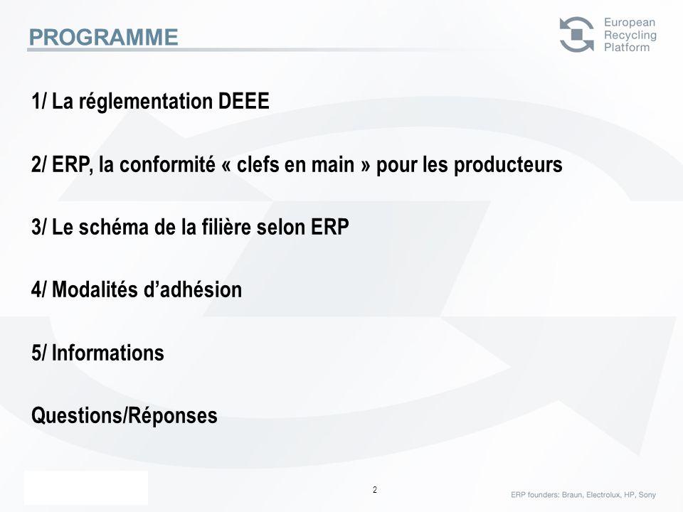 ERP – 23 Février 06 2 PROGRAMME 1/ La réglementation DEEE 2/ ERP, la conformité « clefs en main » pour les producteurs 3/ Le schéma de la filière selo