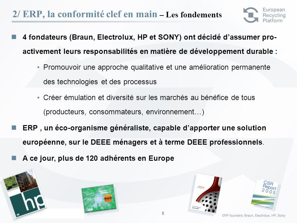 ERP – 23 Février 06 6 4 fondateurs (Braun, Electrolux, HP et SONY) ont décidé dassumer pro- activement leurs responsabilités en matière de développeme