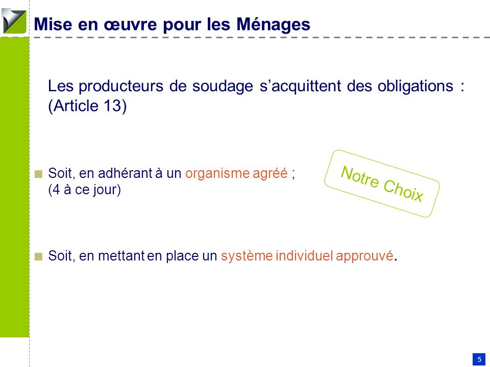Patrick COUDERC - 11 01 2006 5 Mise en œuvre pour les Ménages Les producteurs de soudage sacquittent des obligations : (Article 13) Soit, en adhérant