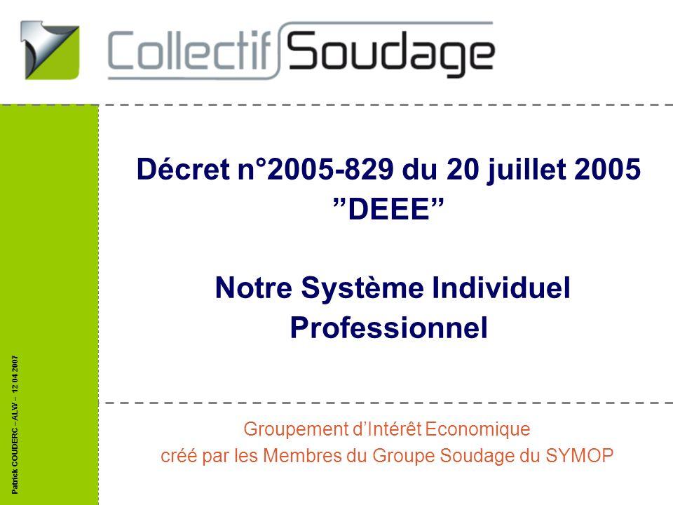 Patrick COUDERC – ALW – 12 04 2007 Décret n°2005-829 du 20 juillet 2005 DEEE Notre Système Individuel Professionnel Groupement dIntérêt Economique cré