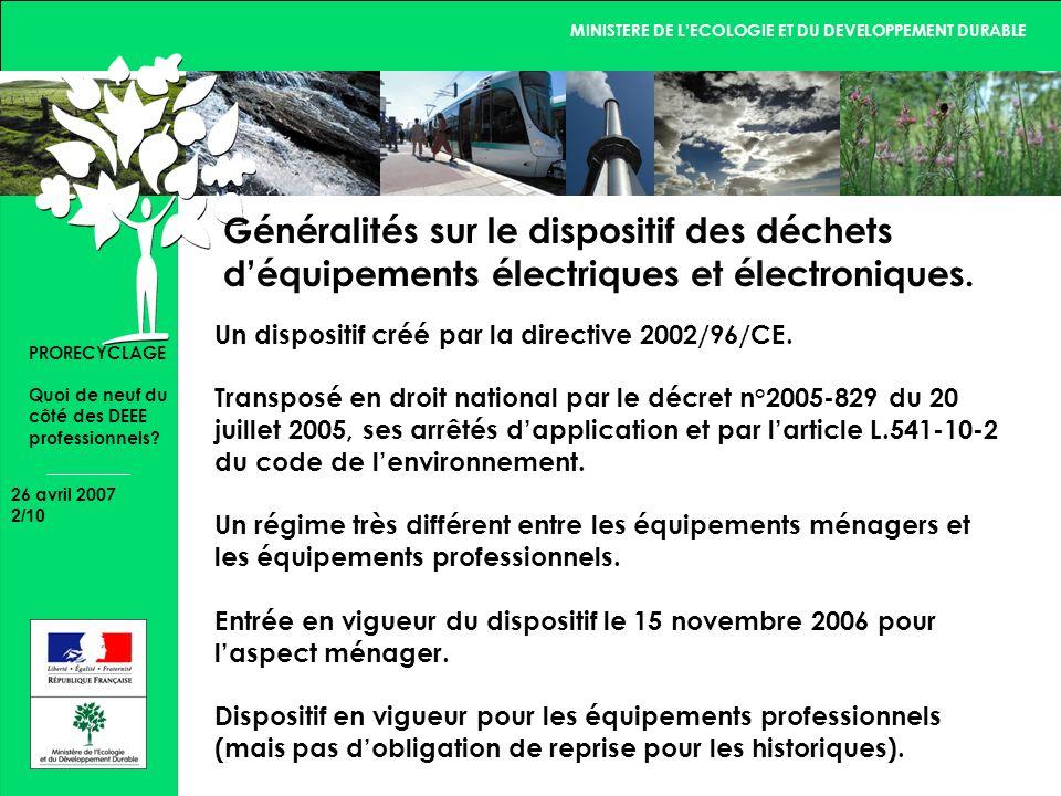 MINISTERE DE LECOLOGIE ET DU DEVELOPPEMENT DURABLE 26 avril 2007 2/10 PRORECYCLAGE Quoi de neuf du côté des DEEE professionnels.