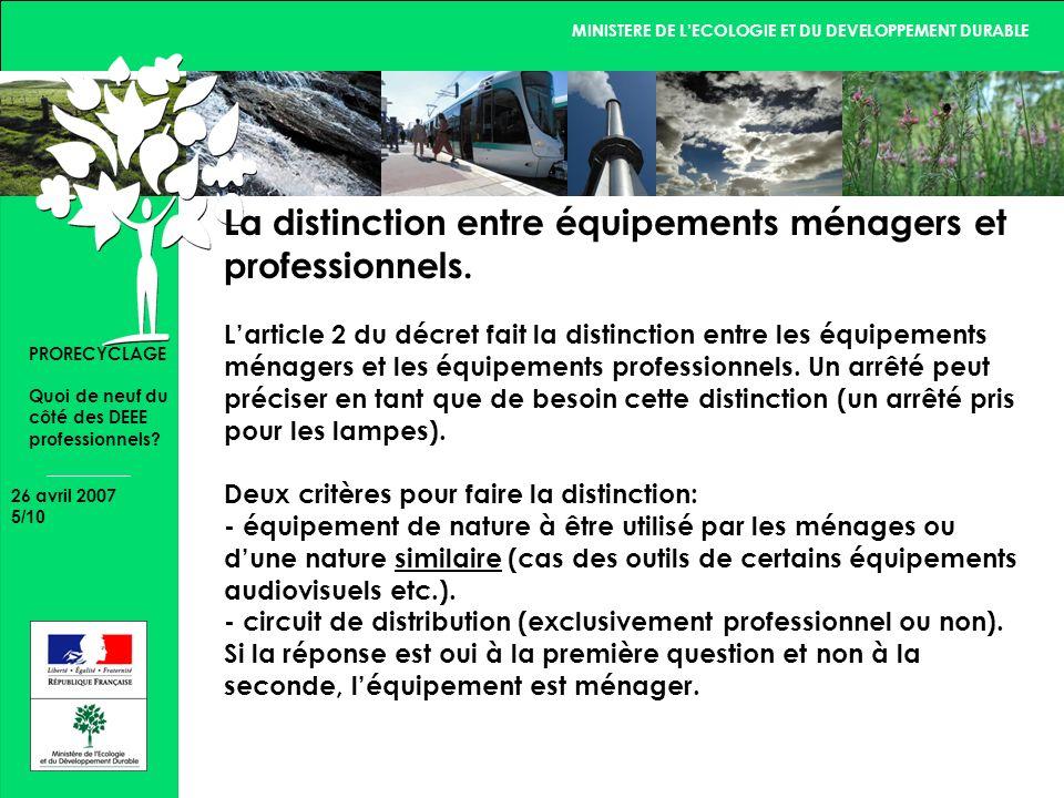 MINISTERE DE LECOLOGIE ET DU DEVELOPPEMENT DURABLE 26 avril 2007 5/10 PRORECYCLAGE Quoi de neuf du côté des DEEE professionnels.
