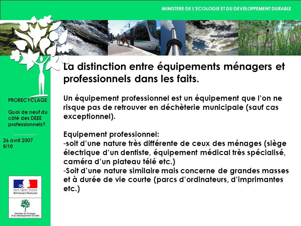 MINISTERE DE LECOLOGIE ET DU DEVELOPPEMENT DURABLE 26 avril 2007 7/10 PRORECYCLAGE Quoi de neuf du côté des DEEE professionnels.
