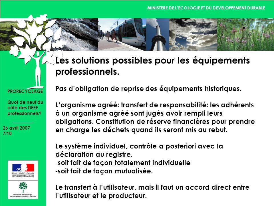 MINISTERE DE LECOLOGIE ET DU DEVELOPPEMENT DURABLE 26 avril 2007 8/10 PRORECYCLAGE Quoi de neuf du côté des DEEE professionnels.