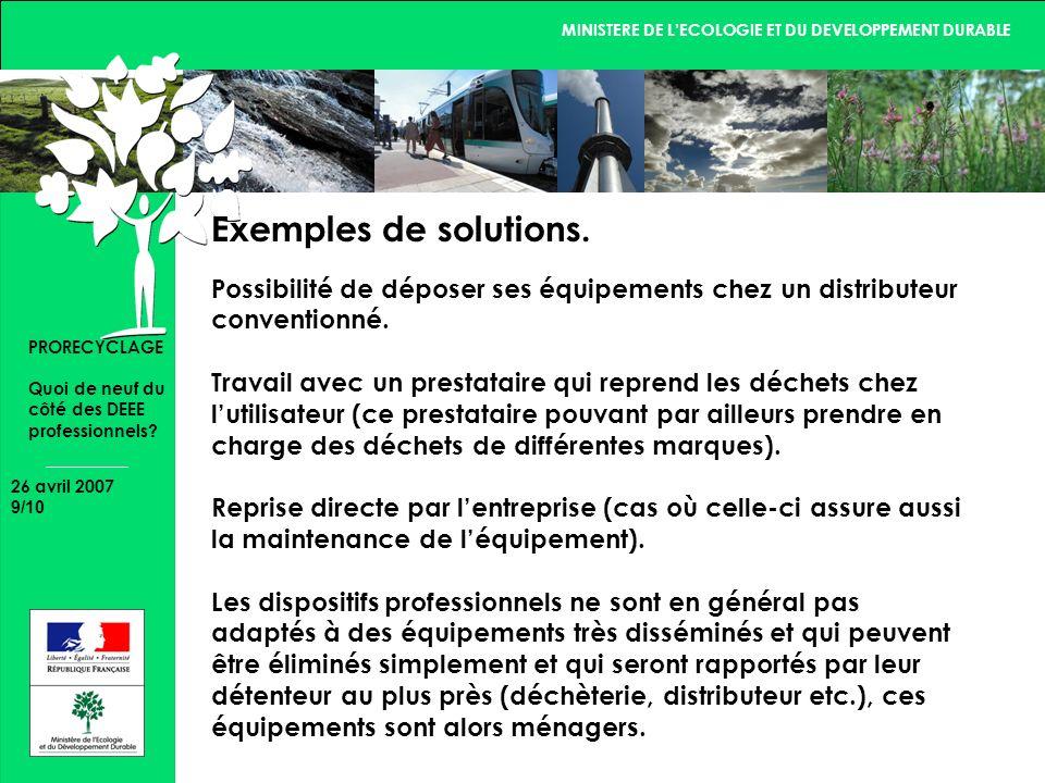 MINISTERE DE LECOLOGIE ET DU DEVELOPPEMENT DURABLE 26 avril 2007 10/10 PRORECYCLAGE Quoi de neuf du côté des DEEE professionnels.