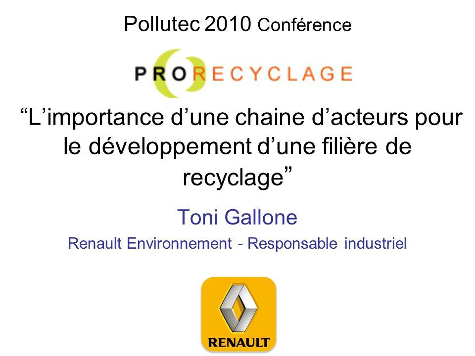 Pollutec 2010 Conférence Limportance dune chaine dacteurs pour le développement dune filière de recyclage Toni Gallone Renault Environnement - Respons