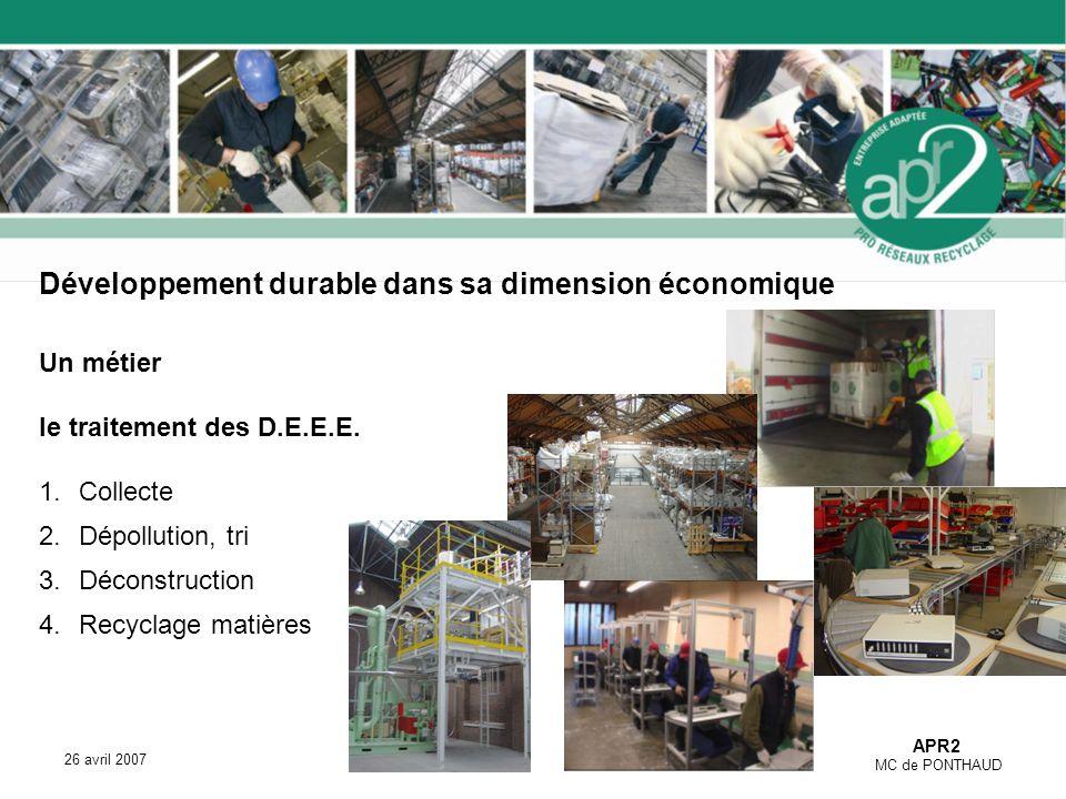 APR2 MC de PONTHAUD 26 avril 2007 Développement durable dans sa dimension économique Un métier le traitement des D.E.E.E.