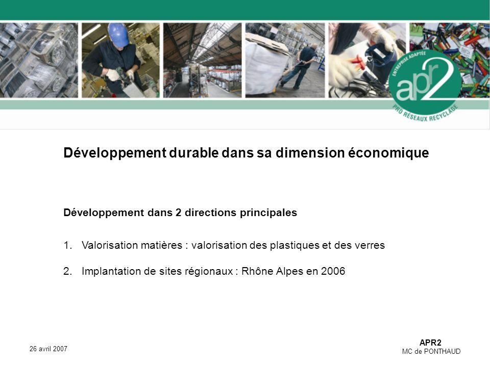 APR2 MC de PONTHAUD 26 avril 2007 Développement durable dans sa dimension économique Développement dans 2 directions principales 1.Valorisation matières : valorisation des plastiques et des verres 2.Implantation de sites régionaux : Rhône Alpes en 2006