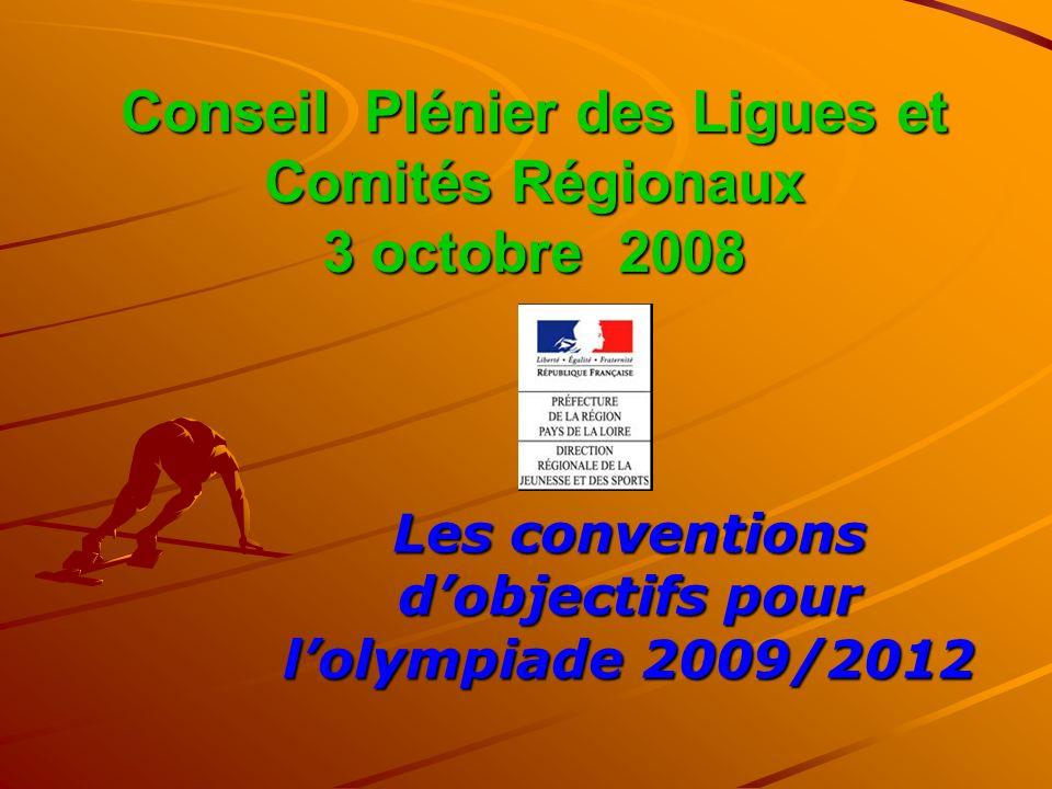 Conseil Plénier des Ligues et Comités Régionaux 3 octobre 2008 Les conventions dobjectifs pour lolympiade 2009/2012