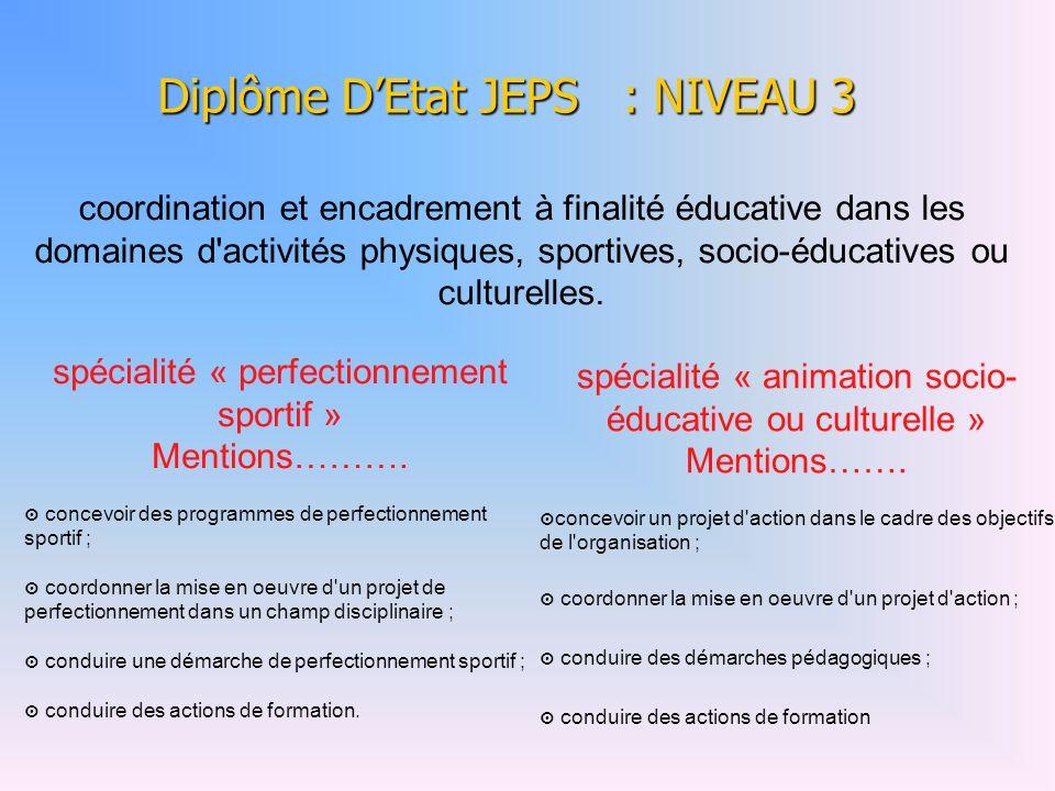 Diplôme DEtat JEPS : NIVEAU 3 spécialité « perfectionnement sportif » Mentions……….