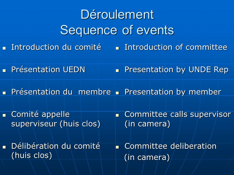 Déroulement Sequence of events Introduction du comité Introduction du comité Présentation UEDN Présentation UEDN Présentation du membre Présentation du membre Comité appelle superviseur (huis clos) Comité appelle superviseur (huis clos) Délibération du comité (huis clos) Délibération du comité (huis clos) Introduction of committee Introduction of committee Presentation by UNDE Rep Presentation by UNDE Rep Presentation by member Presentation by member Committee calls supervisor (in camera) Committee calls supervisor (in camera) Committee deliberation Committee deliberation (in camera) (in camera)