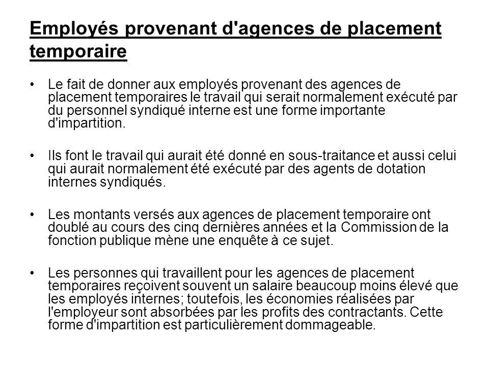 Employés provenant d'agences de placement temporaire Le fait de donner aux employés provenant des agences de placement temporaires le travail qui sera