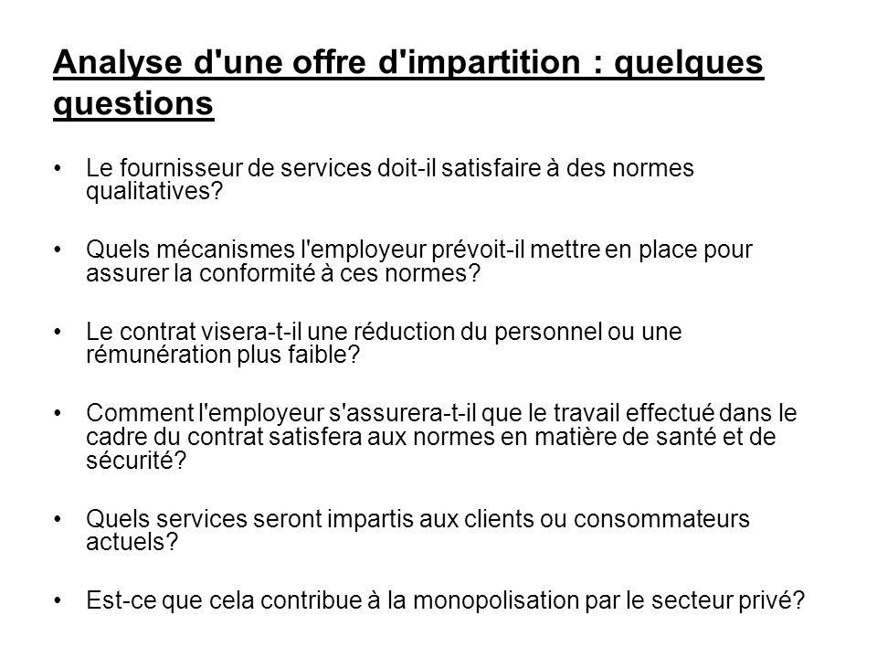 Analyse d'une offre d'impartition : quelques questions Le fournisseur de services doit-il satisfaire à des normes qualitatives? Quels mécanismes l'emp