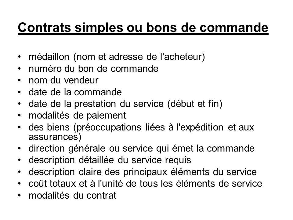 Contrats simples ou bons de commande médaillon (nom et adresse de l'acheteur) numéro du bon de commande nom du vendeur date de la commande date de la