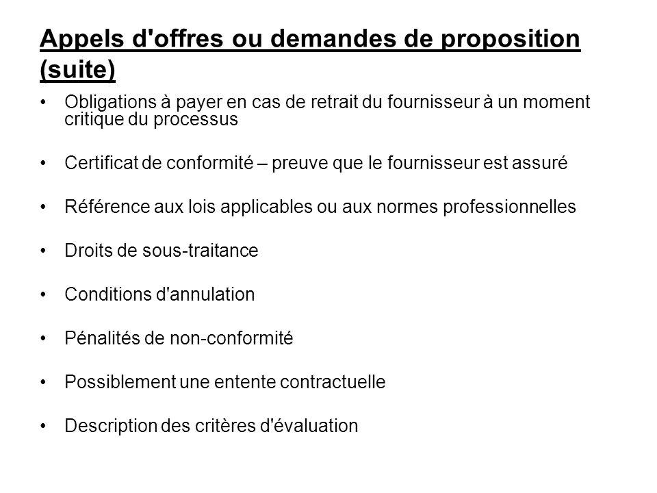 Appels d'offres ou demandes de proposition (suite) Obligations à payer en cas de retrait du fournisseur à un moment critique du processus Certificat d