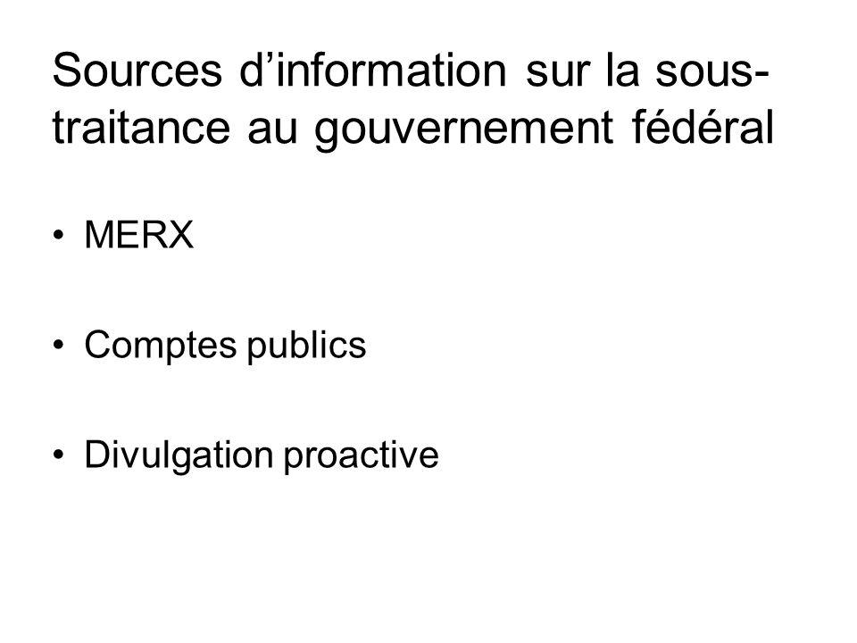 Sources dinformation sur la sous- traitance au gouvernement fédéral MERX Comptes publics Divulgation proactive
