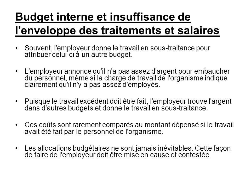 Budget interne et insuffisance de l'enveloppe des traitements et salaires Souvent, l'employeur donne le travail en sous-traitance pour attribuer celui