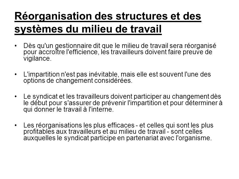 Réorganisation des structures et des systèmes du milieu de travail Dès qu'un gestionnaire dit que le milieu de travail sera réorganisé pour accroître