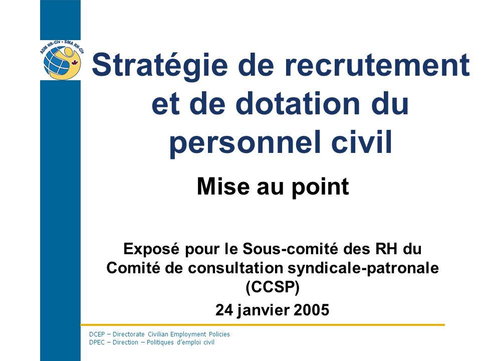 DCEP – Directorate Civilian Employment Policies DPEC – Direction – Politiques demploi civil Stratégie de recrutement et de dotation du personnel civil