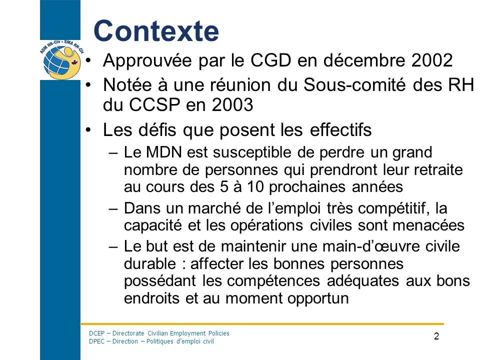 DCEP – Directorate Civilian Employment Policies DPEC – Direction – Politiques demploi civil 2 Contexte Approuvée par le CGD en décembre 2002 Notée à u
