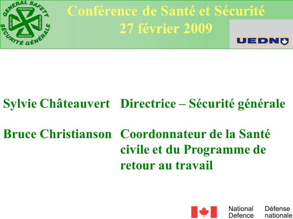 Sylvie Châteauvert Directrice – Sécurité générale Conférence de Santé et Sécurité 27 février 2009 Bruce Christianson Coordonnateur de la Santé civile