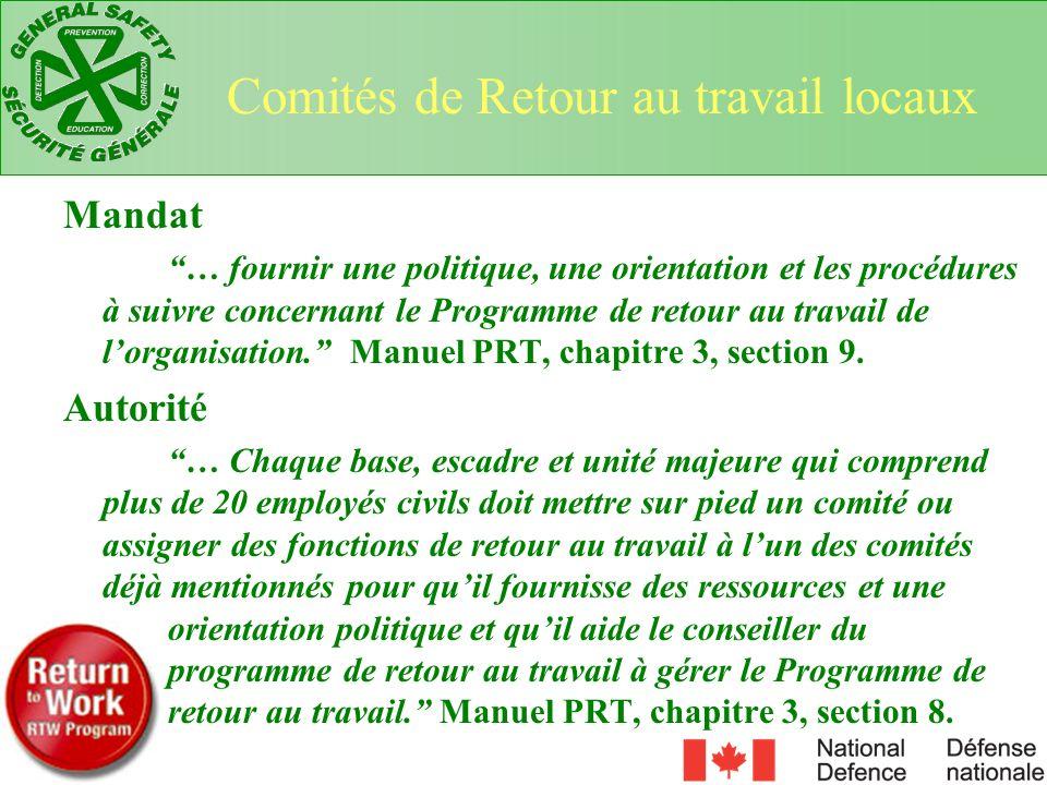 Mandat … fournir une politique, une orientation et les procédures à suivre concernant le Programme de retour au travail de lorganisation. Manuel PRT,