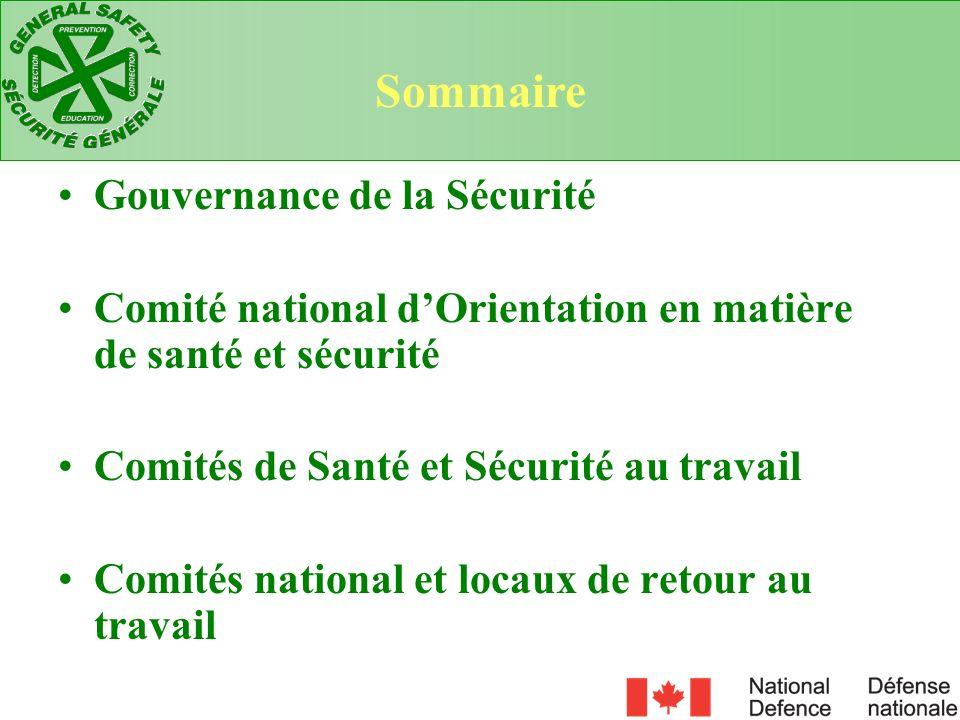 Gouvernance de la Sécurité Comité national dOrientation en matière de santé et sécurité Comités de Santé et Sécurité au travail Comités national et lo