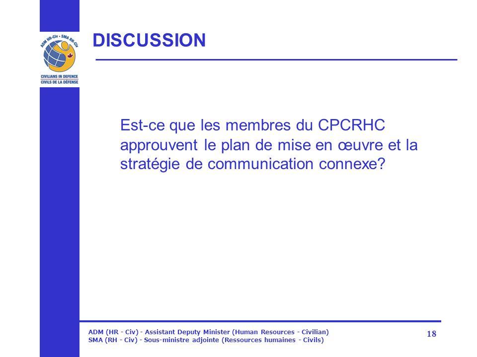 ADM (HR - Civ) - Assistant Deputy Minister (Human Resources - Civilian) SMA (RH - Civ) - Sous-ministre adjointe (Ressources humaines - Civils) 18 DISC