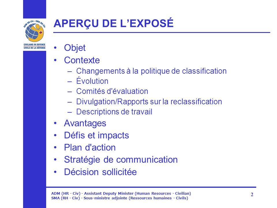 ADM (HR - Civ) - Assistant Deputy Minister (Human Resources - Civilian) SMA (RH - Civ) - Sous-ministre adjointe (Ressources humaines - Civils) 2 APERÇ