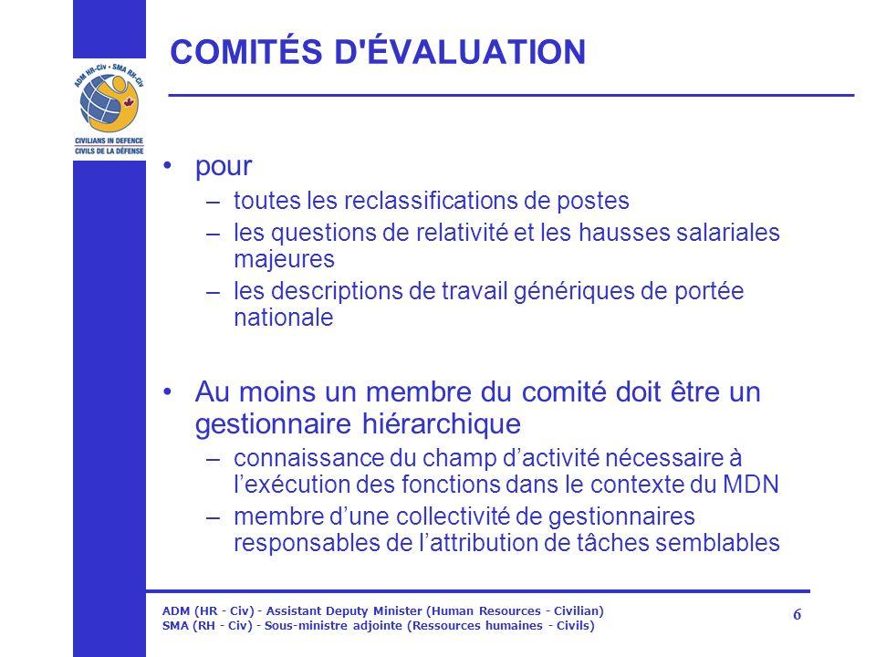 ADM (HR - Civ) - Assistant Deputy Minister (Human Resources - Civilian) SMA (RH - Civ) - Sous-ministre adjointe (Ressources humaines - Civils) 6 COMIT