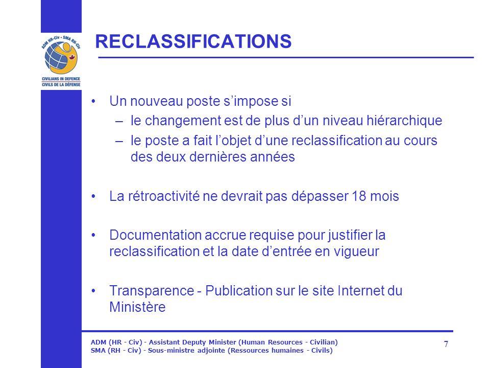 ADM (HR - Civ) - Assistant Deputy Minister (Human Resources - Civilian) SMA (RH - Civ) - Sous-ministre adjointe (Ressources humaines - Civils) 7 RECLA