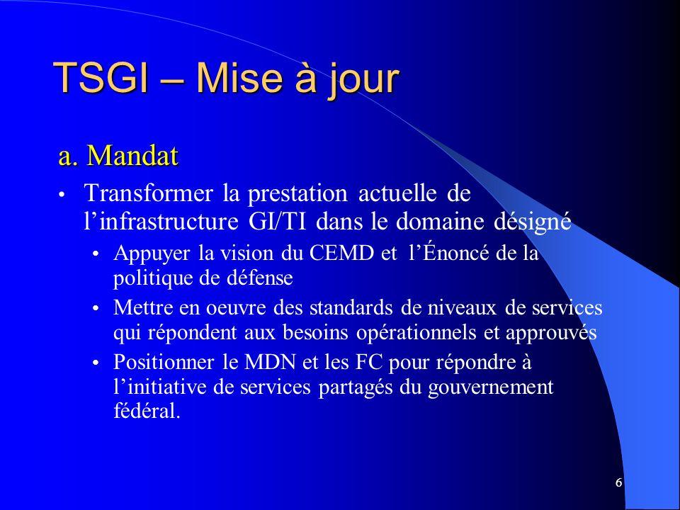 6 a. Mandat Transformer la prestation actuelle de linfrastructure GI/TI dans le domaine désigné Appuyer la vision du CEMD et lÉnoncé de la politique d