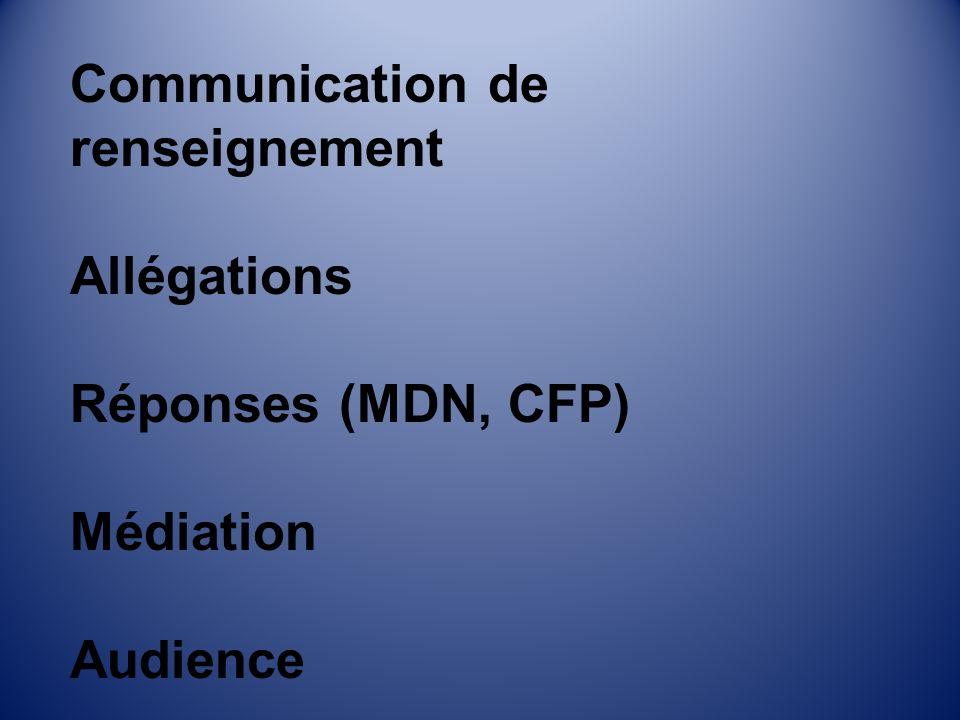 Communication de renseignement Allégations Réponses (MDN, CFP) Médiation Audience