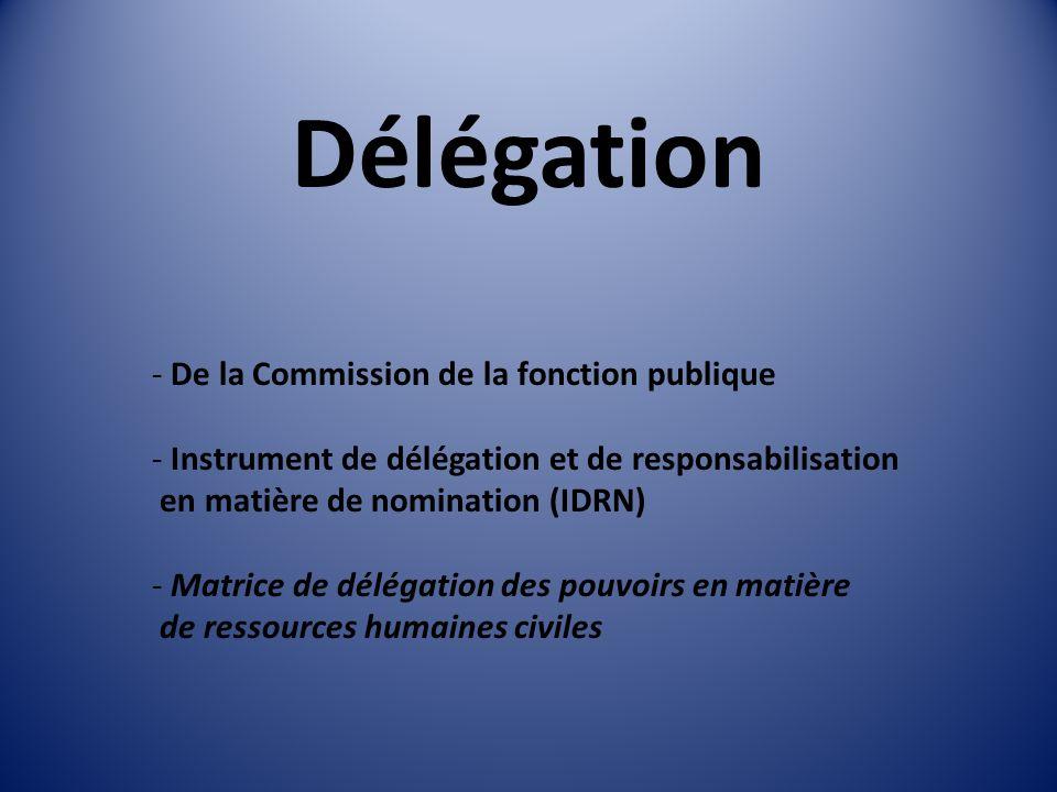 Délégation - De la Commission de la fonction publique - Instrument de délégation et de responsabilisation en matière de nomination (IDRN) - Matrice de délégation des pouvoirs en matière de ressources humaines civiles