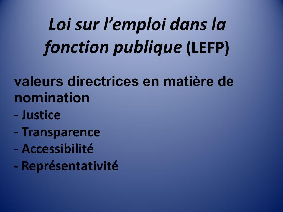 Loi sur lemploi dans la fonction publique (LEFP) valeurs directrices en matière de nomination - Justice - Transparence - Accessibilité - Représentativité