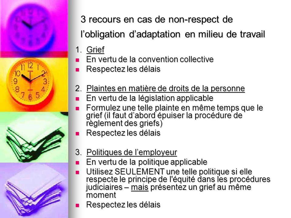 3 recours en cas de non-respect de lobligation dadaptation en milieu de travail 1. Grief En vertu de la convention collective En vertu de la conventio