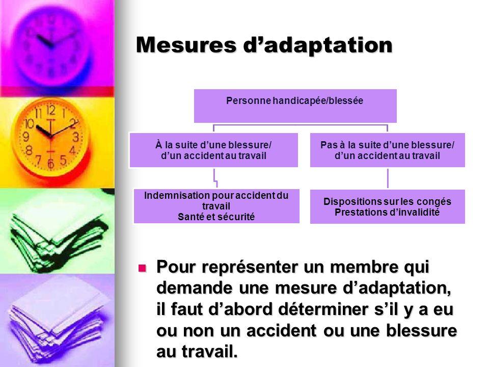 Mesures dadaptation Pour représenter un membre qui demande une mesure dadaptation, il faut dabord déterminer sil y a eu ou non un accident ou une bles