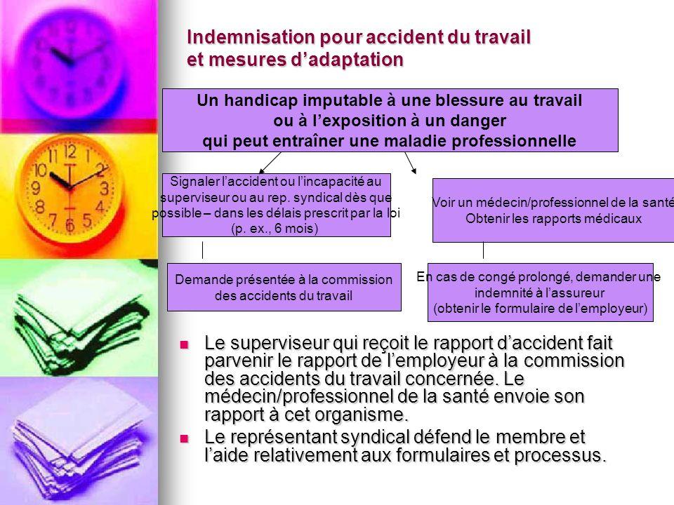 Indemnisation pour accident du travail et mesures dadaptation Le superviseur qui reçoit le rapport daccident fait parvenir le rapport de lemployeur à