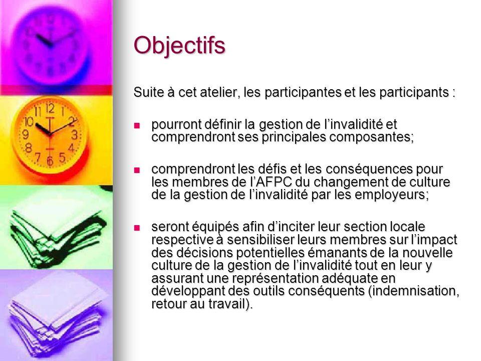 Objectifs Suite à cet atelier, les participantes et les participants : pourront définir la gestion de linvalidité et comprendront ses principales comp