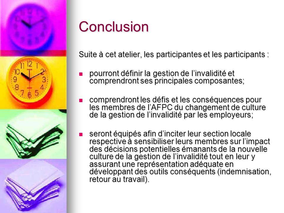 Conclusion Suite à cet atelier, les participantes et les participants : pourront définir la gestion de linvalidité et comprendront ses principales com