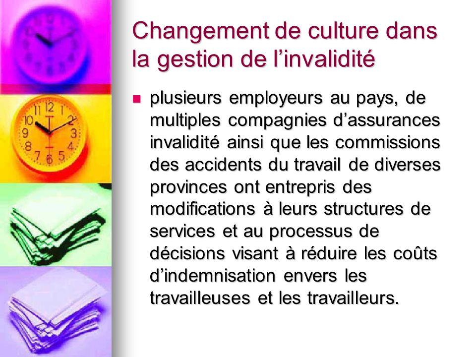 Changement de culture dans la gestion de linvalidité plusieurs employeurs au pays, de multiples compagnies dassurances invalidité ainsi que les commis