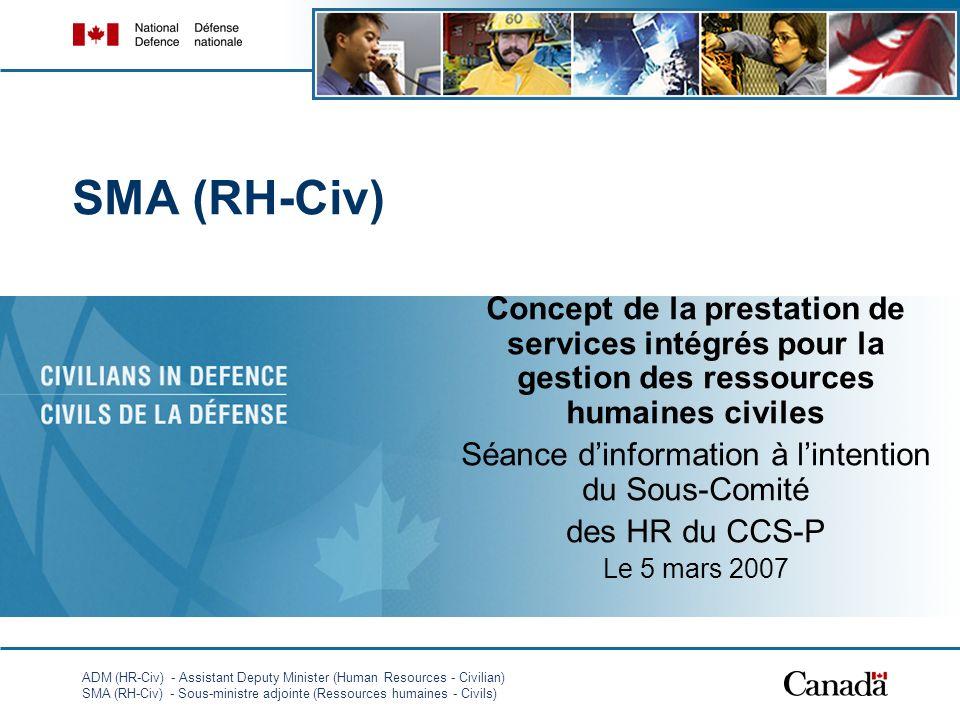 ADM (HR-Civ) - Assistant Deputy Minister (Human Resources - Civilian) SMA (RH-Civ) - Sous-ministre adjointe (Ressources humaines - Civils) 1 SMA (RH-Civ) Concept de la prestation de services intégrés pour la gestion des ressources humaines civiles Séance dinformation à lintention du Sous-Comité des HR du CCS-P Le 5 mars 2007