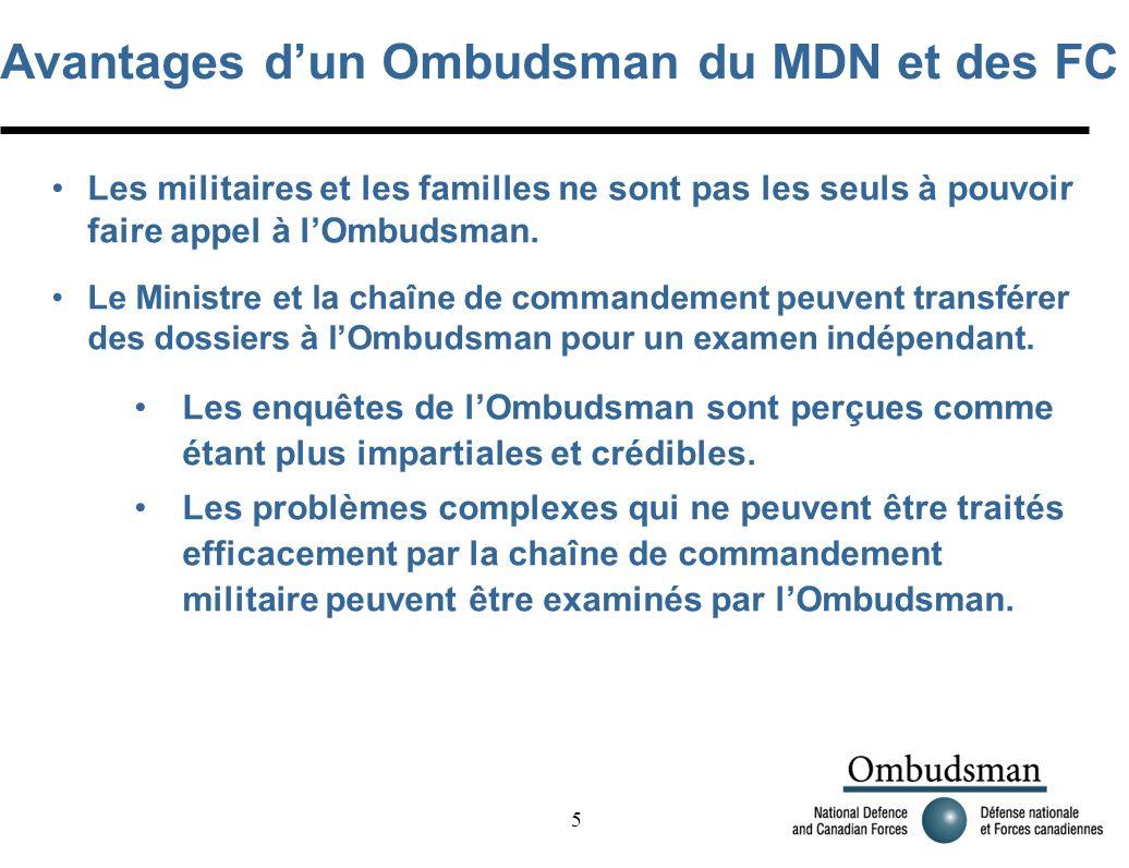 5 Avantages dun Ombudsman du MDN et des FC Les militaires et les familles ne sont pas les seuls à pouvoir faire appel à lOmbudsman.