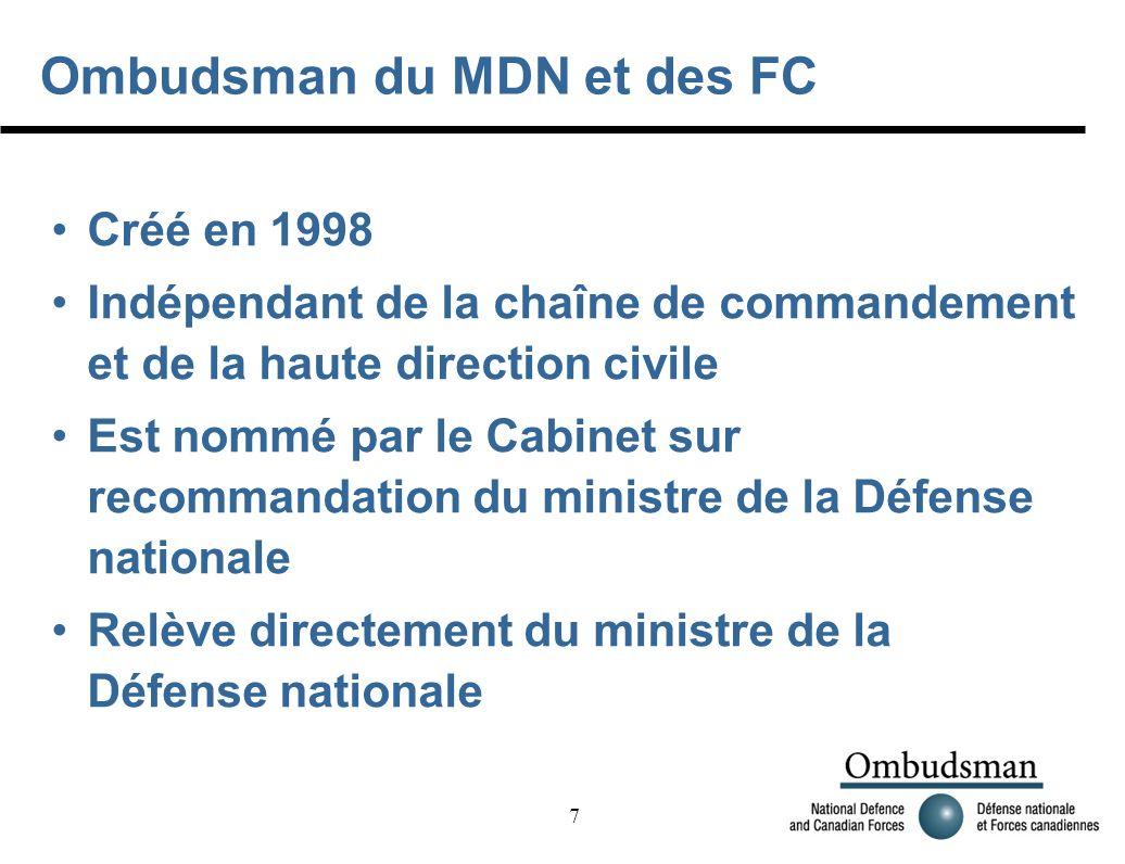 7 Ombudsman du MDN et des FC Créé en 1998 Indépendant de la chaîne de commandement et de la haute direction civile Est nommé par le Cabinet sur recommandation du ministre de la Défense nationale Relève directement du ministre de la Défense nationale