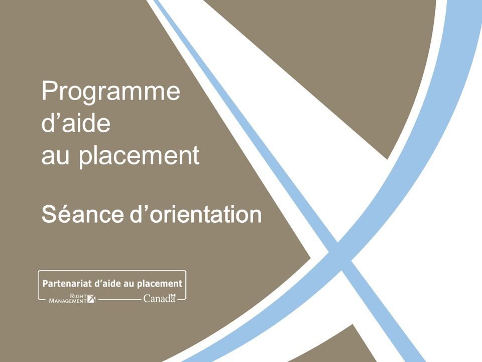 Programme daide au placement Séance dorientation