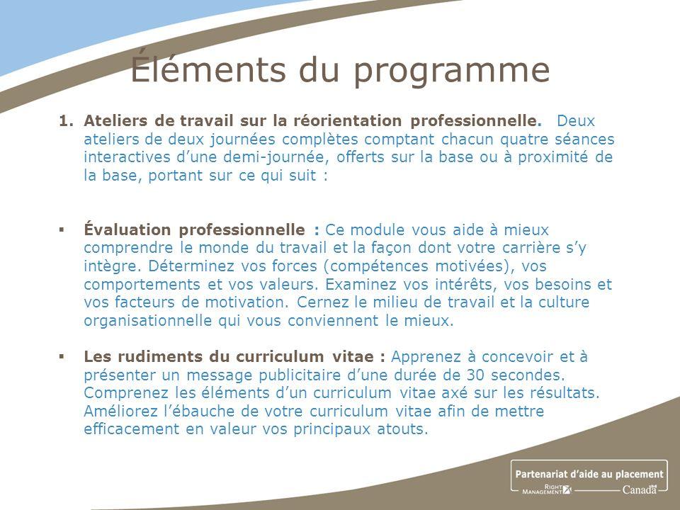 Éléments du programme 1.Ateliers de travail sur la réorientation professionnelle.